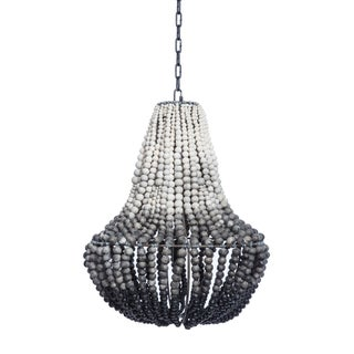 South African Ombre Grey Clay Beaded Chandelier (2 Available)