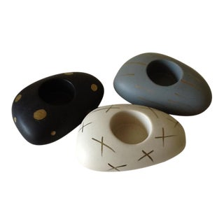 Ceramic Pebble Stone Tea Light Votives - Set of 3