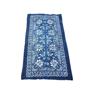 1920's Hand Batik Indigo Table Runner
