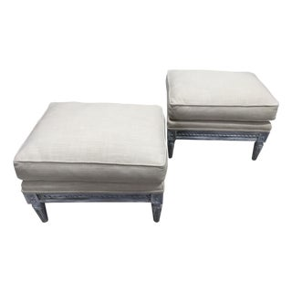 French Style Upholstered Benches - Pair