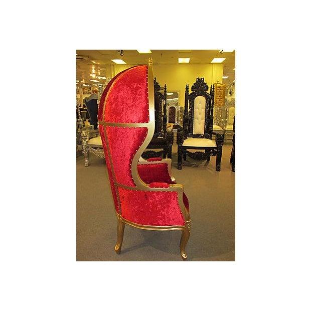 High-Back Velvet Canopy Chair - Image 7 of 8