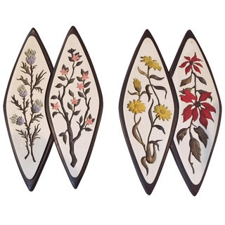 Atomic-Style Floral Wall Plaques - Set of 2