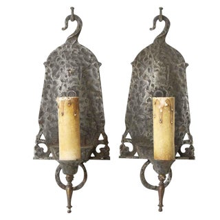 Hammered Metal Sconces - A Pair