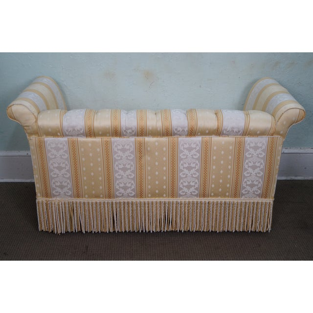 Old Hickory Tannery Lenoir Yellow Sofa: Old Hickory Tannery Upholstered Tufted Settee