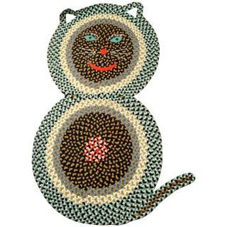 American Folk Art Braided Cat Rug - 2′10″ × 4′7″