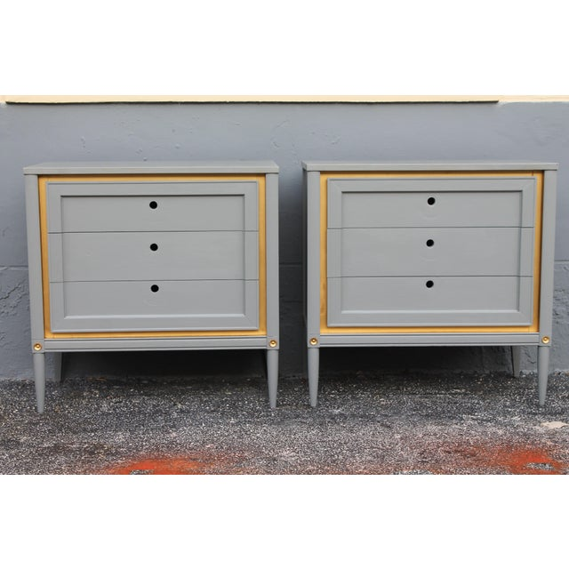 1960s Slate Blue & Gilt Accent Bachelor's Chests - A Pair - Image 3 of 10