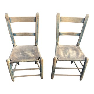 Rustic Primitive Stretched Cowhide Chairs - Pair