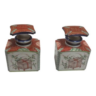 Japanese Porcelain Tea Caddies - A Pair