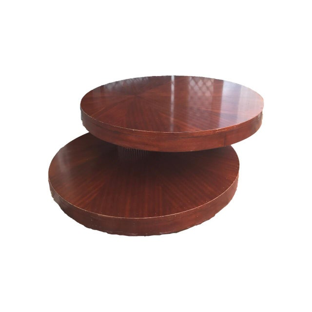Round Wooden Rotating Coffee Table - Image 7 of 10