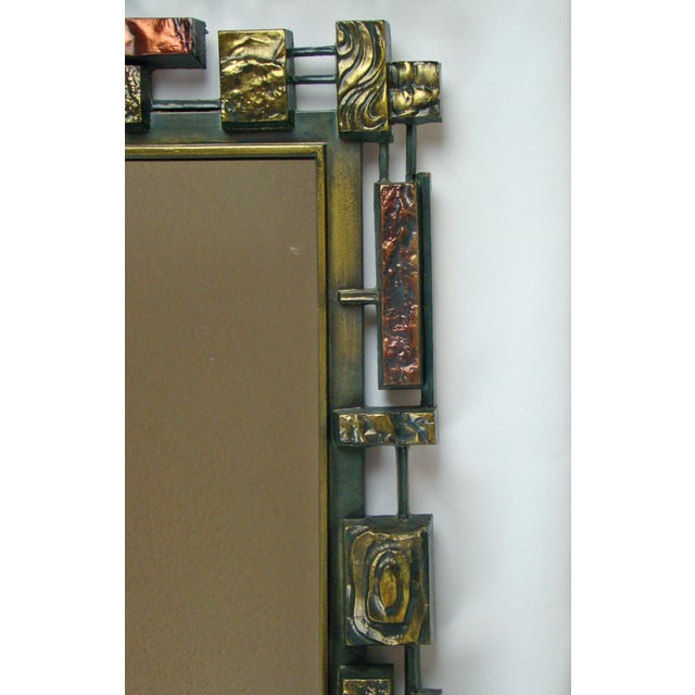 Syroco Paul Evans Style Brutalist Mid-Century Modern Wall Mirror - Image 5 of 9
