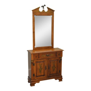 Tell City Vintage Colonial Maple Stenciled Console w/ Mirror