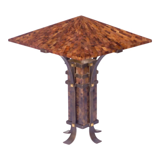 Pair of Maitland Smith Tessellated Horn and Iron Table Lamps - Image 1 of 5