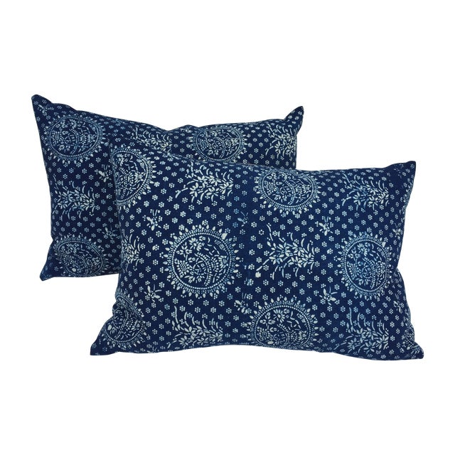 Indigo Batik Pillows- A Pair - Image 1 of 6