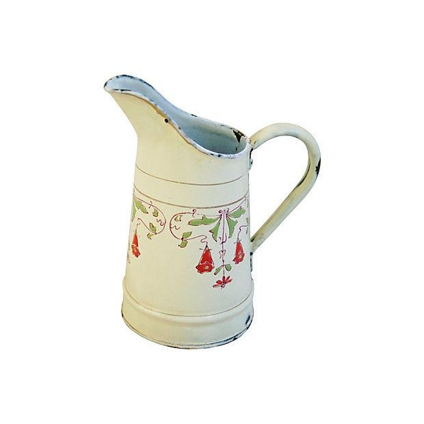 Antique 1930s French Hand-Painted White Pitcher - Image 3 of 7