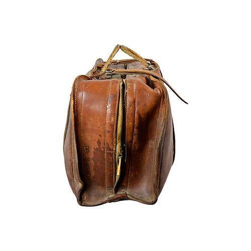 Vintage Leather Travel Bag - Image 3 of 6
