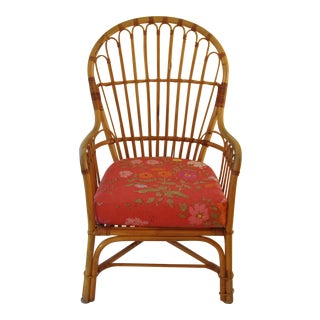 Bend Bamboo Chair With Custom Red Cushion