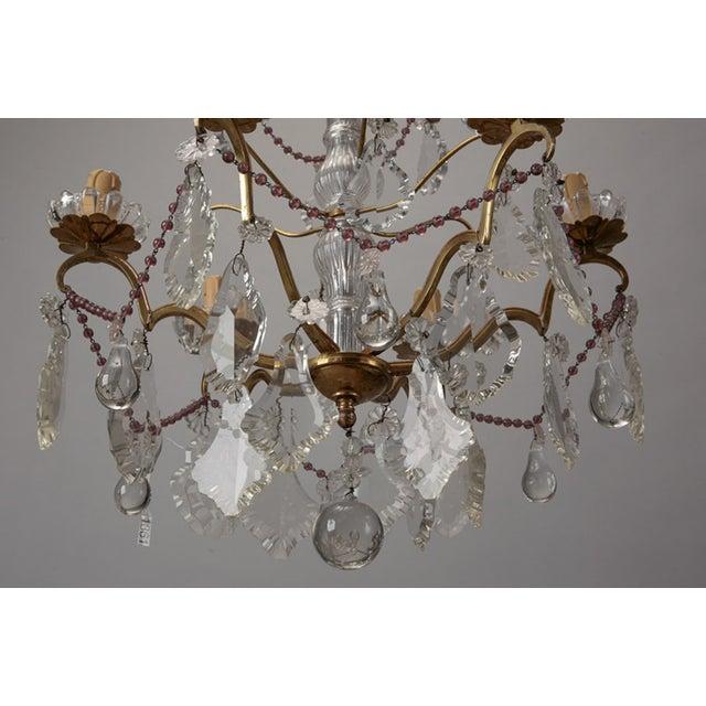 Italian 6-Arm Crystal Chandelier w/ Amethyst Beads - Image 5 of 6