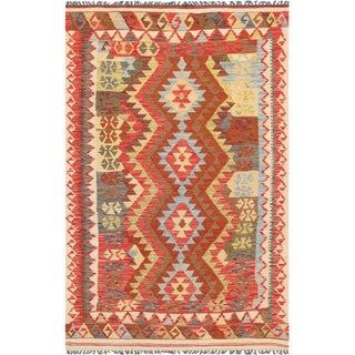 "Anatolian Kilim Hand-Woven Area Rug- 4' 1"" X 6' 7"""