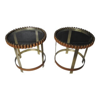 "Glass Top ""Gun Belt"" Side Tables- A Pair"