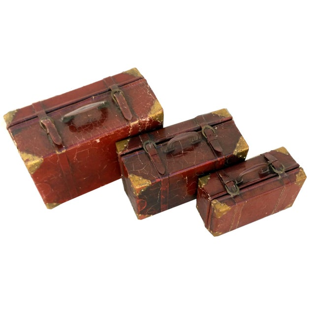 Weathered Ox Blood Nesting Trunks - Set of 3 - Image 4 of 11