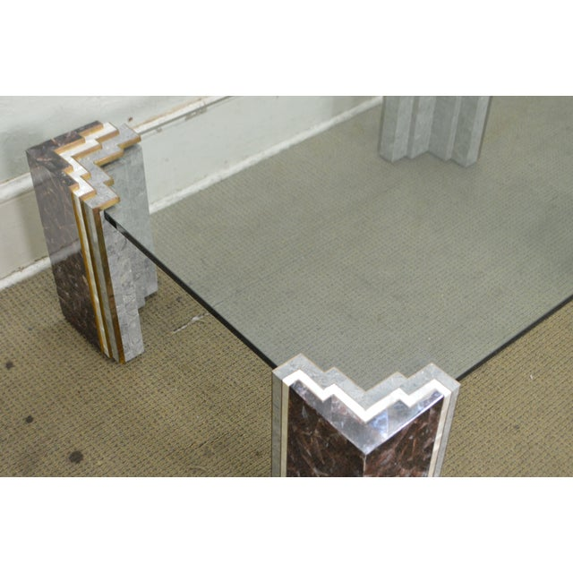 Maitland Smith Tessellated Marble & Stone Glass Top Large Coffee Table - Image 9 of 10