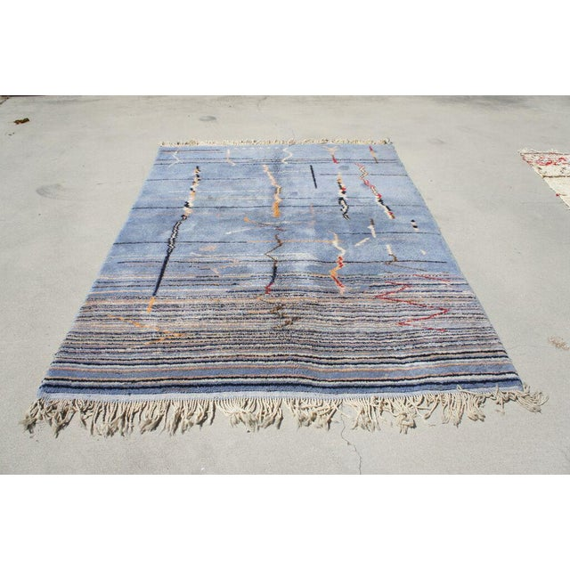 """Moroccan Light Blue Abstract Rug- 6'5"""" x 9' - Image 2 of 7"""