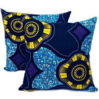 Seaside African Dutch Wax Pillow Covers - a Pair