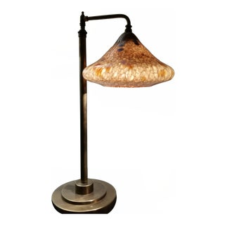 Spot Glass Shaded Bridge Arm Table Lamp