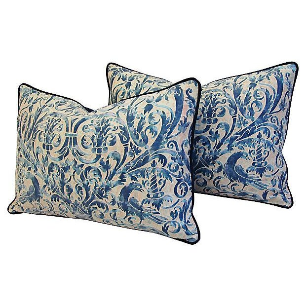 Custom Designer Italian Fortuny Uccelli Feather/Down Pillows - Pair - Image 7 of 10