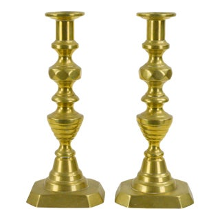 Antique English Brass Candlesticks - A Pair