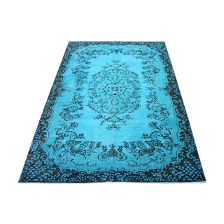 "Aqua Over-Dyed Oushak Rug - 6'7"" x 10'"