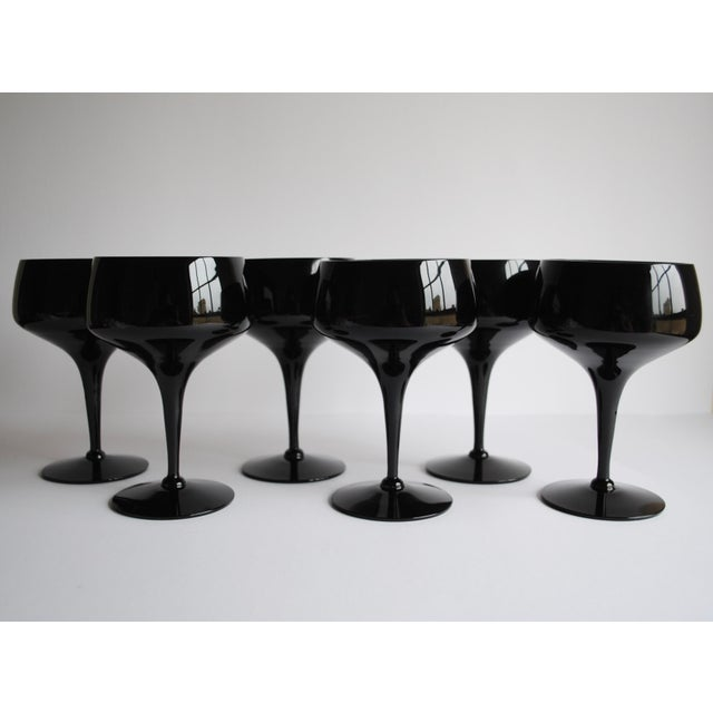 Mid-Century Black Cocktail Glasses - Set of 6 - Image 3 of 4