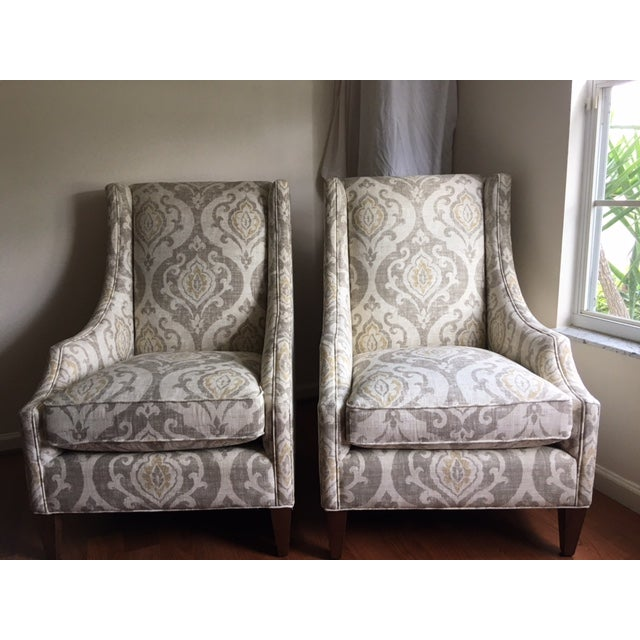 Arhaus Upholstered Plazza Wing Chairs - A Pair - Image 2 of 6
