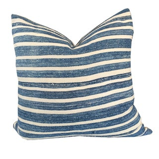 Blue & White Stripe African Mud Cloth Pillow