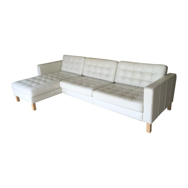 Contemporary Tufted White Leather Sectional Sofa Chairish