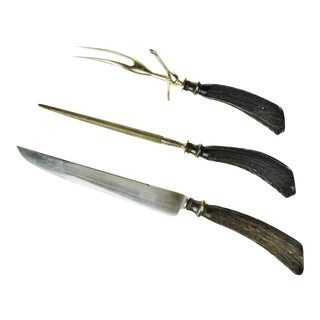 Vintage Stag Handle Carving Set - Set of 3