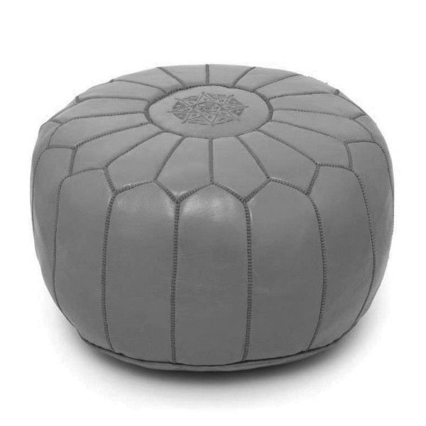 Gray Moroccan Leather Pouf - Image 2 of 3