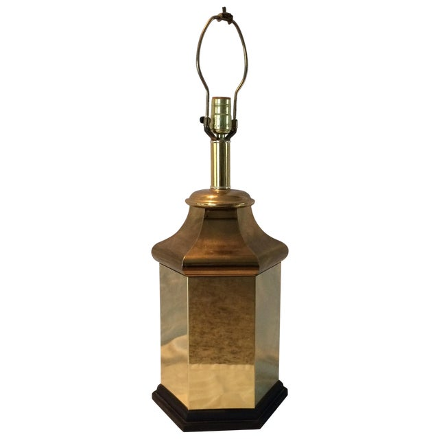 Image of Brass Pagoda Canister Style Chinoiserie Lamp