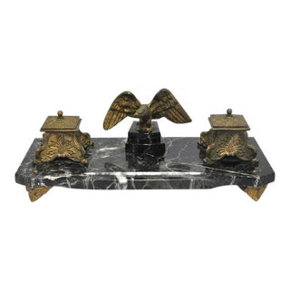 19th C. French Marble & Bronze Inkwell With Eagle