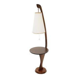 Mid-Century Vintage Wood Floor Lamp With Table