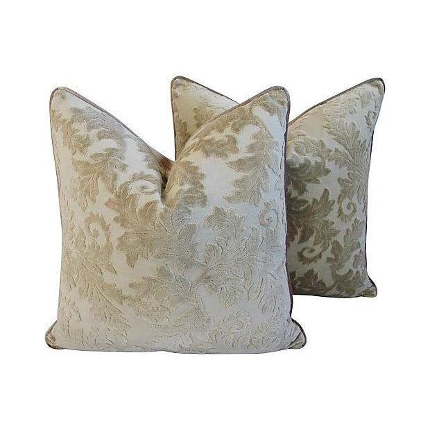 Gray French Cut/Uncut Velvet Pillows - A Pair - Image 1 of 7