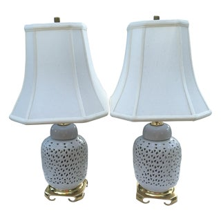 Blanc De Chine Reticulated Brass Lamp - Pair