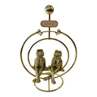 Groovy Swinging Love Frogs in Brass