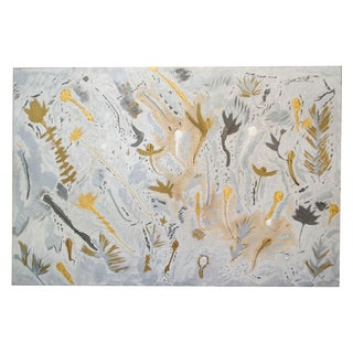 Original Abstract Silver & Gold Oil Painting