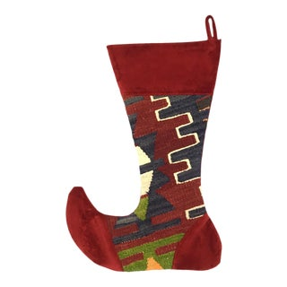 Large Kilim Christmas Stocking | Cranberry