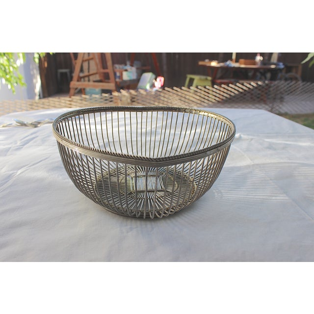 Image of Vintage Silverplate Wire Heart Bowl