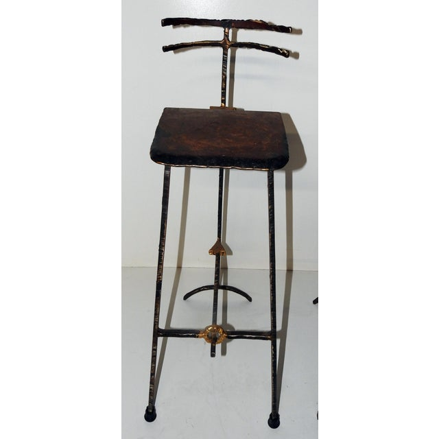 Mid-Century Modern Giacometti Style Bar Stools - A Pair - Image 4 of 8