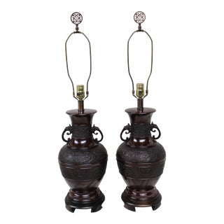 Vintage Japanese Bronze Lamps - A Pair