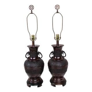 Vintage Japanese Bronze Lamps - A Pair