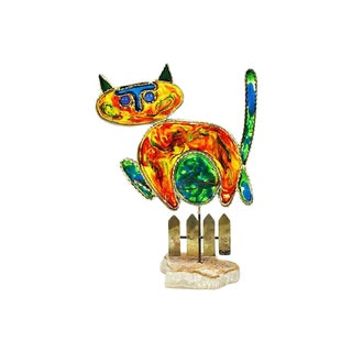 Curtis Jeré Cat & Fish Sculpture
